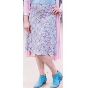 🔴4 FOR $30🔴LuLaRoe Pastel Geo Print Azure Skirt